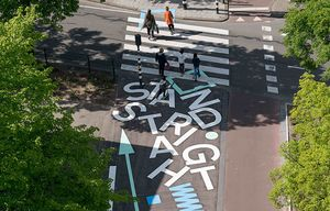 Streetart in crosswalk in Rotterdam