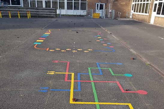 colourful schoolyard